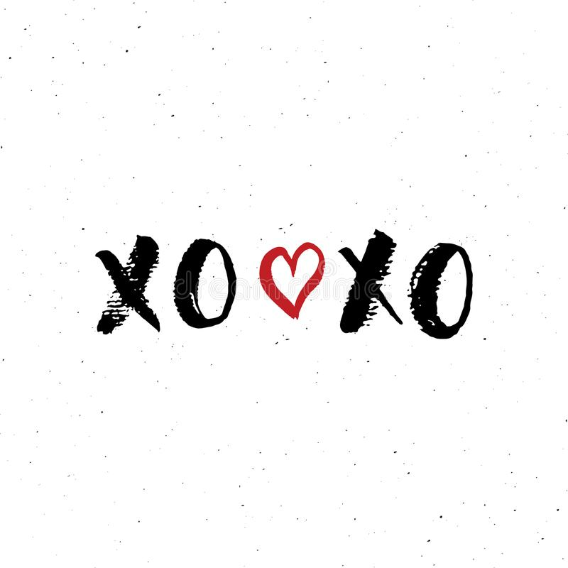 Tecknet för XOXO-borstebokstäver, Grungecalligraphiv c kramar och kyssuttrycket, symboler för internetslangförkortningen XOXO, ve stock illustrationer