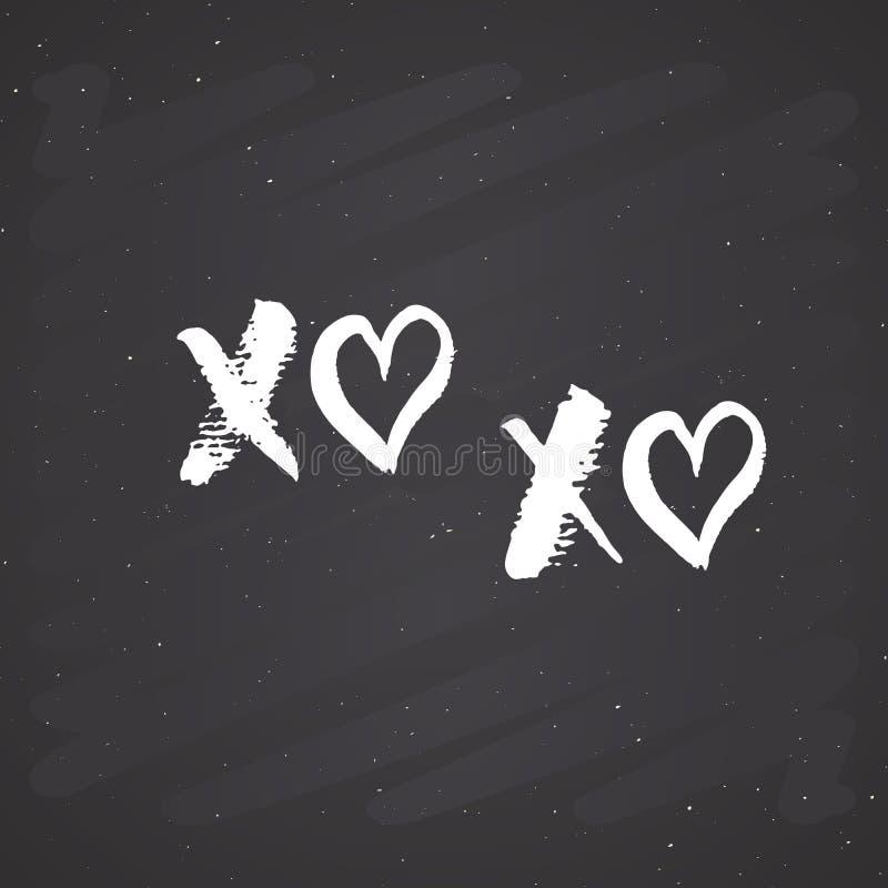 Tecknet för XOXO-borstebokstäver, Grungecalligraphiv c kramar och kyssuttrycket, symboler för internetslangförkortningen XOXO, ve royaltyfri illustrationer