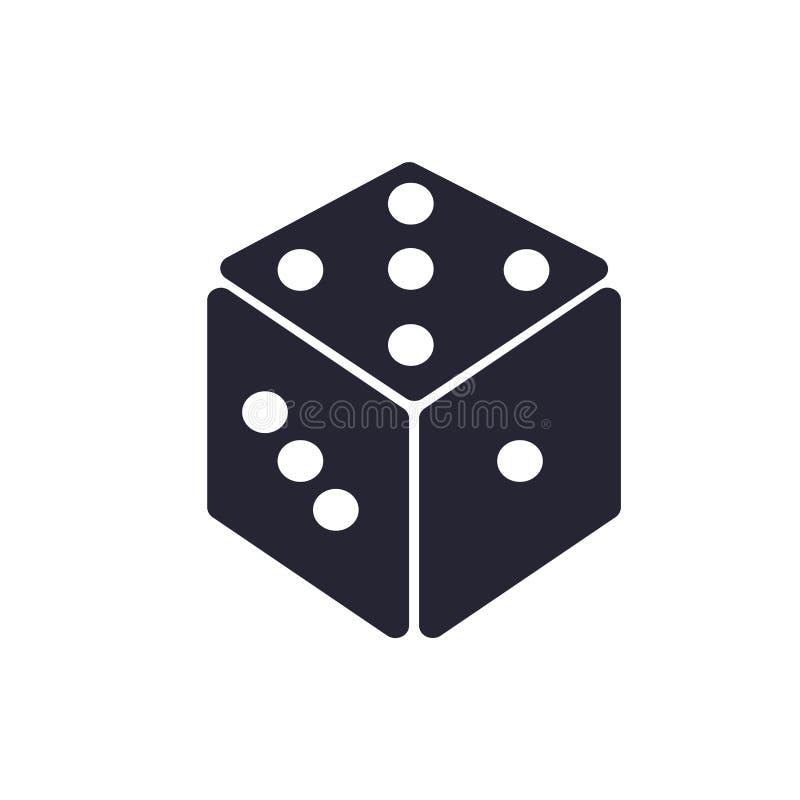 Tecknet och symbolet för tärningsymbolsvektor som isoleras på vit bakgrund, tärnar logobegrepp stock illustrationer