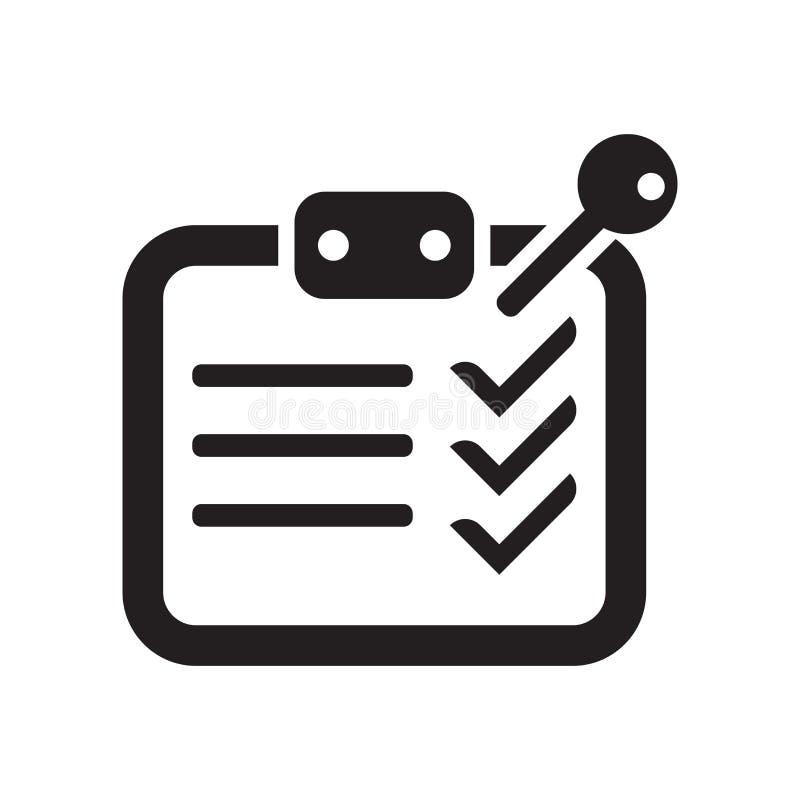 Tecknet och symbolet för vektor för symbol för översikt för kontrolllista som isoleras på vit bakgrund, kontrollerar begrepp för  royaltyfri illustrationer