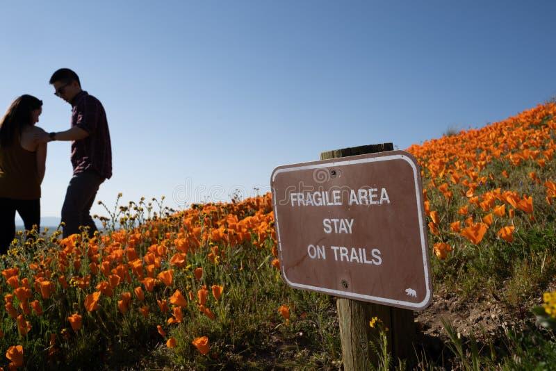 Tecknet varnar turister på antilopdalen Poppy Reserve att bli på slingan för att bevara arkivfoton