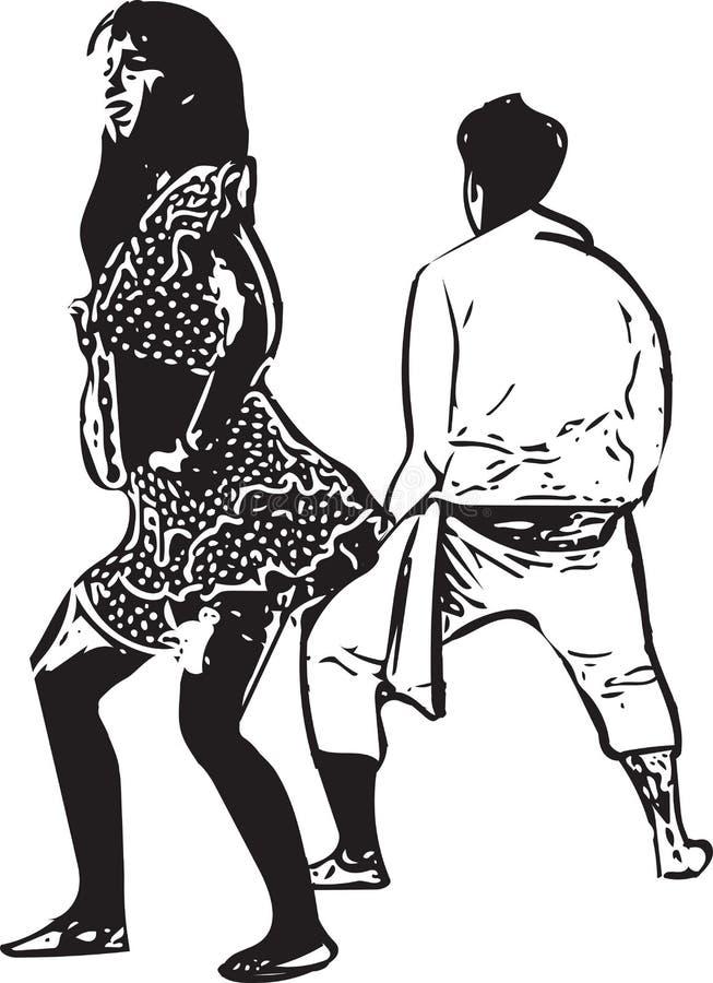 Teckning av att dansa för par stock illustrationer