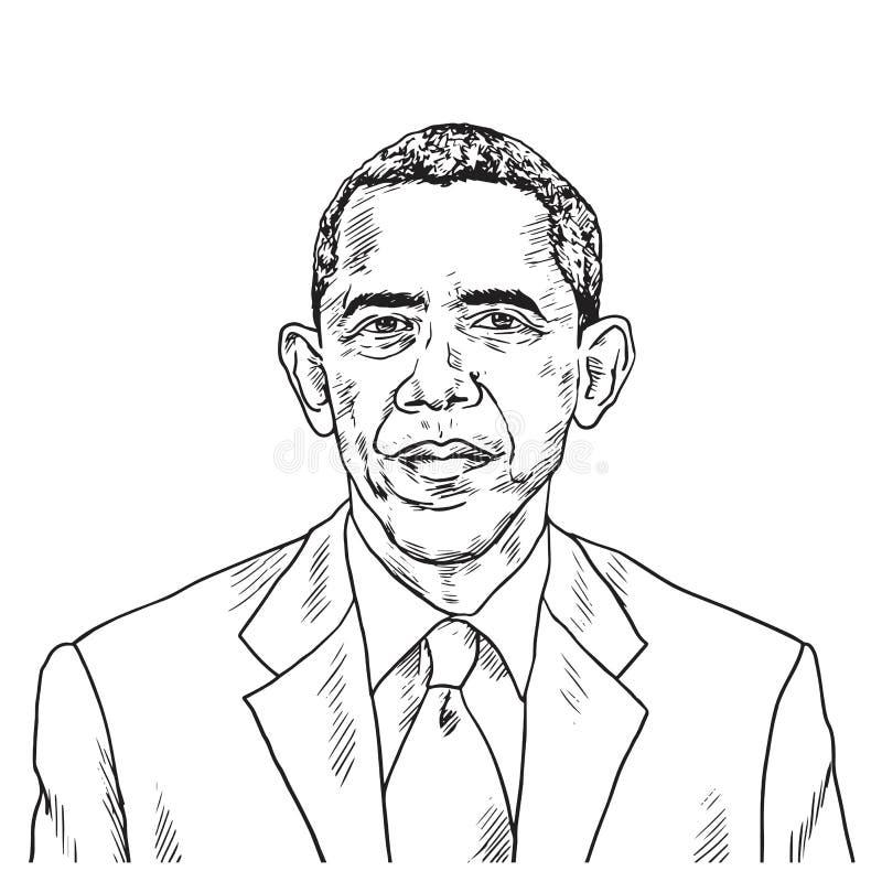 Teckning av Barack Obama Teckning för vektorkarikatyrillustration September 15, 2018 stock illustrationer