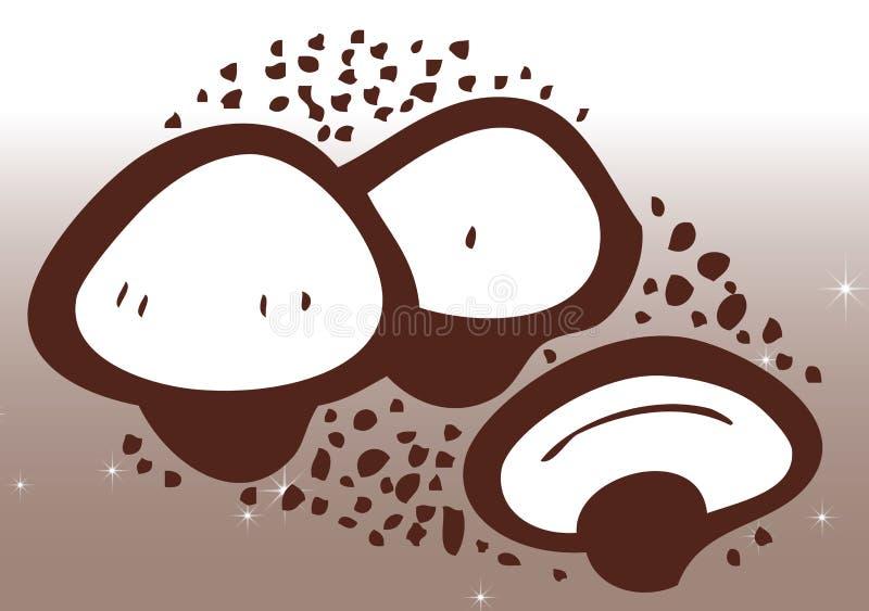 Teckning av champinjoner stock illustrationer
