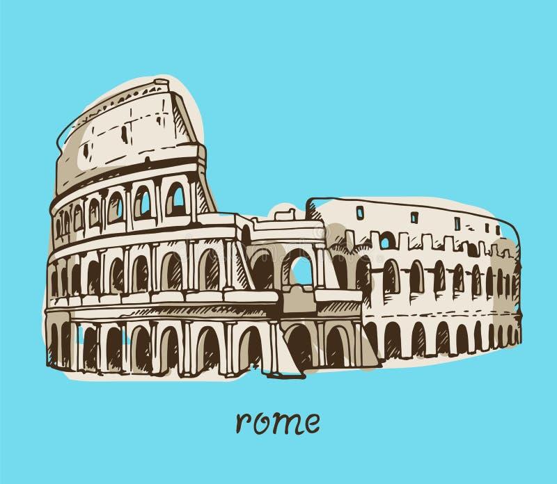 Teckning av coliseumen, Colosseum illustration i Rome, Italien