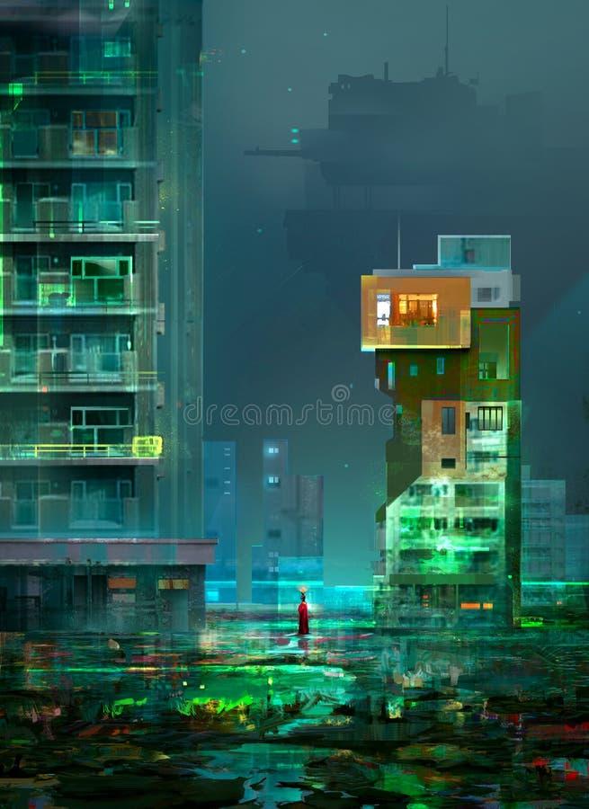 Teckning av cyberpunken, nattstaden av den framtida utopin royaltyfri illustrationer