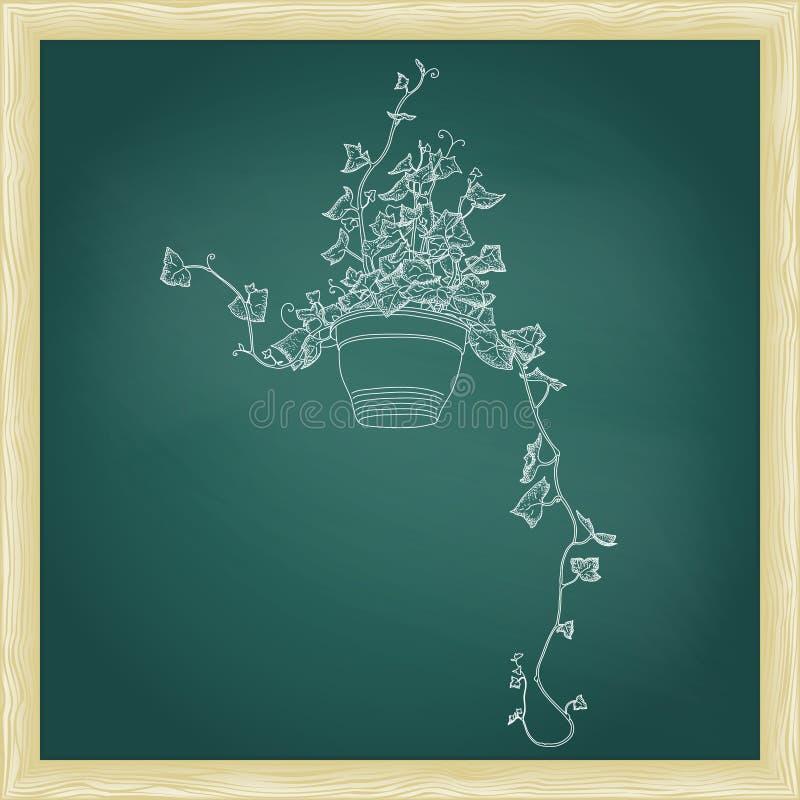Teckning av den gröna murgrönan i blomkruka abstrakt mallvektor stock illustrationer
