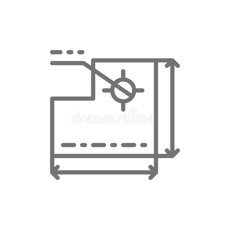 Teckning av den tekniska apparaten, utveckling av en industriell maskinlinje symbol royaltyfri illustrationer