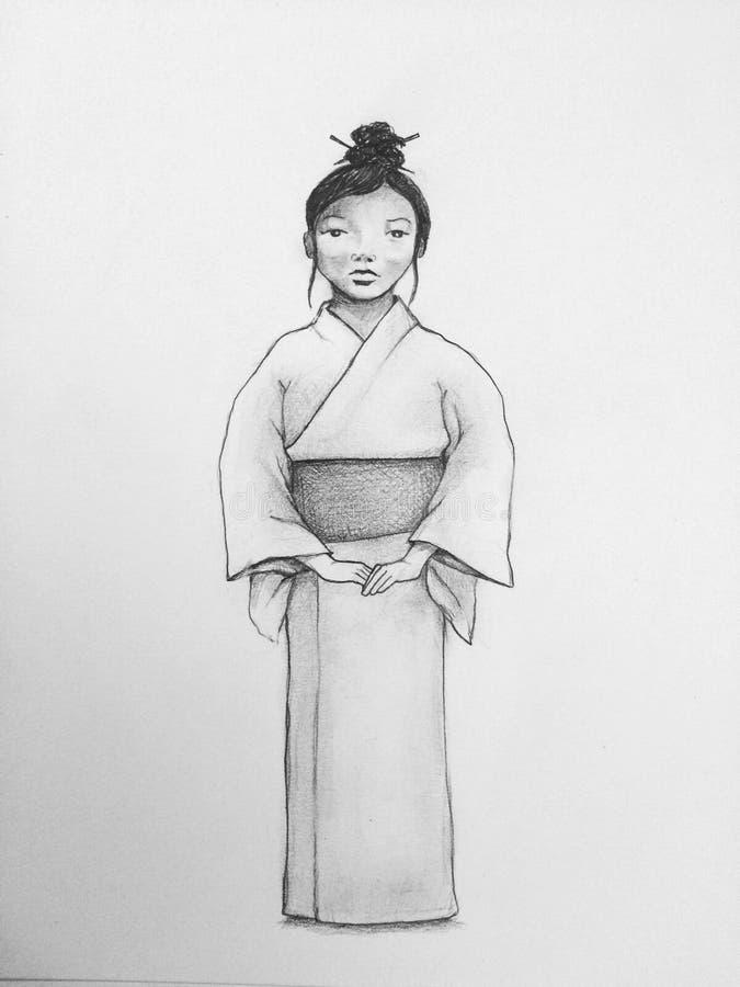 Teckning av den unga japanska kvinnan i kimono stock illustrationer