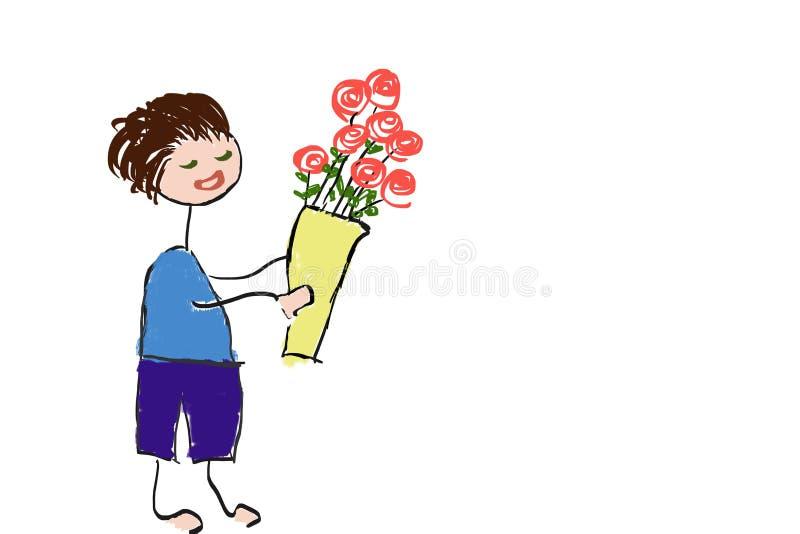 Teckning av den unga mannen som förbereder sig att ge rosor bukett royaltyfri foto