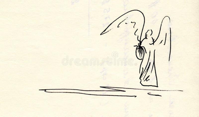 Teckning av en ängel med lyran royaltyfri bild