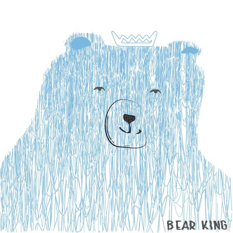 Teckning av en björn med en krona av fin skuggning i blåa signaler royaltyfri illustrationer