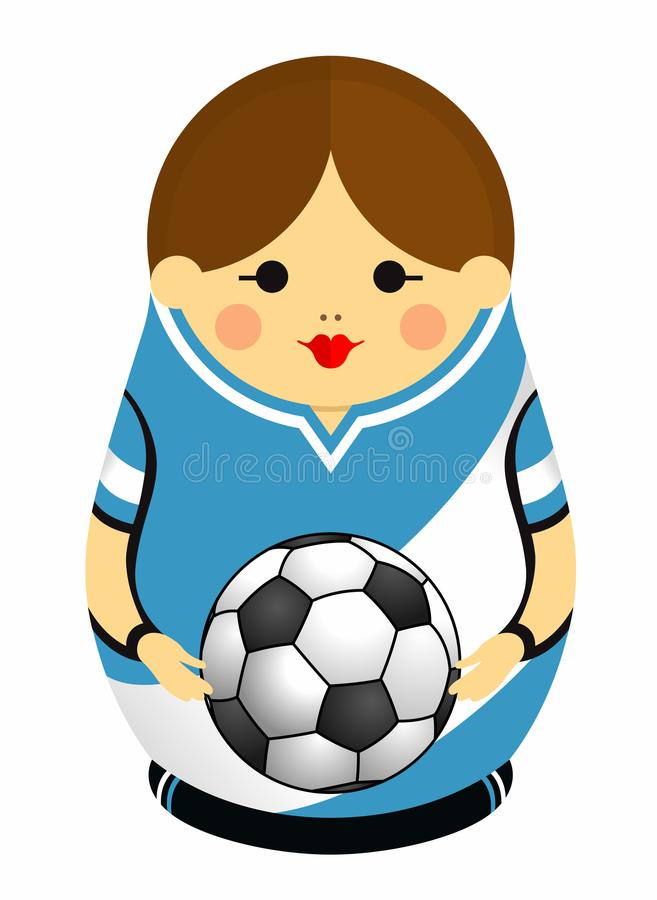 Teckning av en Matryoshka med färger av flaggan av Argentina som rymmer en fotbollboll i henne händer Rysk bygga bodocka i blått stock illustrationer