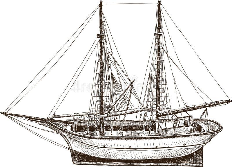 Teckning av ett fartyg för seglingfiskegrek royaltyfri illustrationer