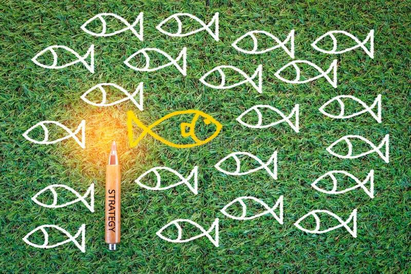Teckning av fisken på affärsidé för grönt gräs jpg royaltyfri fotografi
