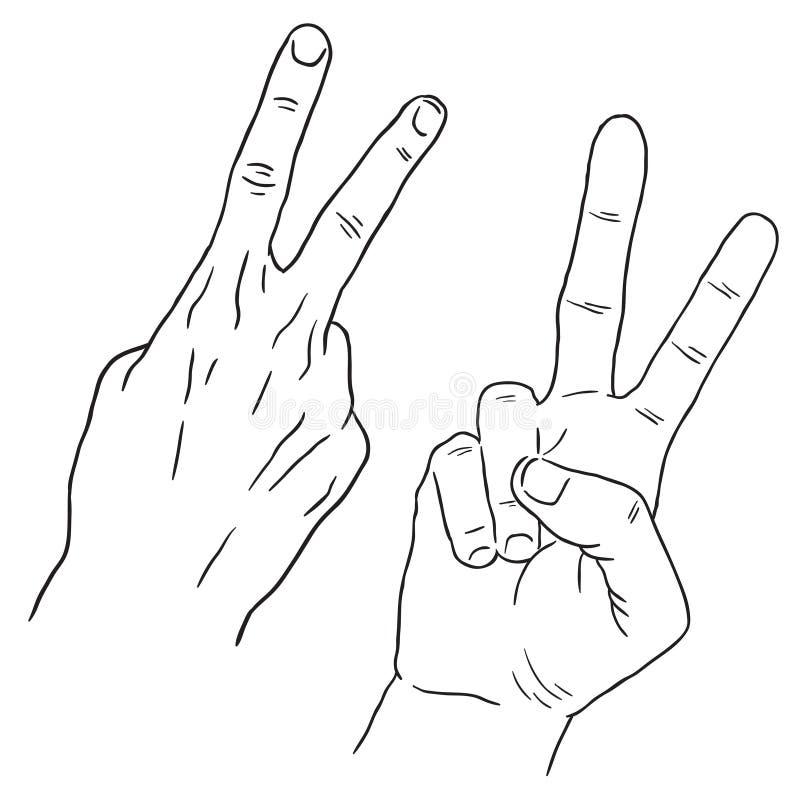 Teckning av handen i den svarta linjen konst, två finger, nummer 2 royaltyfri illustrationer