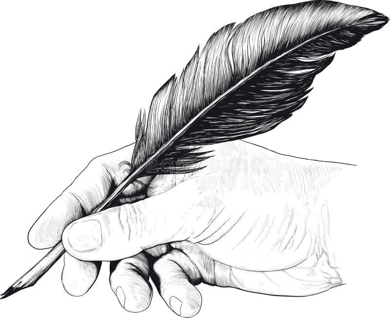 Teckning av handen med en fjäderpenna vektor illustrationer