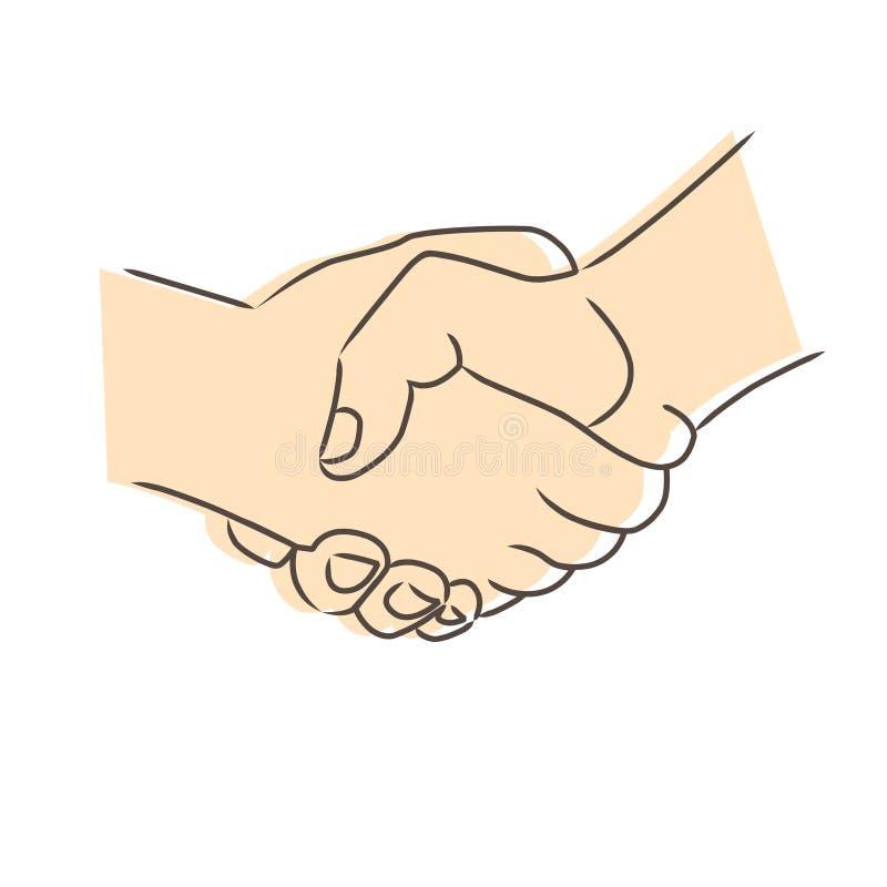 Teckning av handskakningen vektor illustrationer