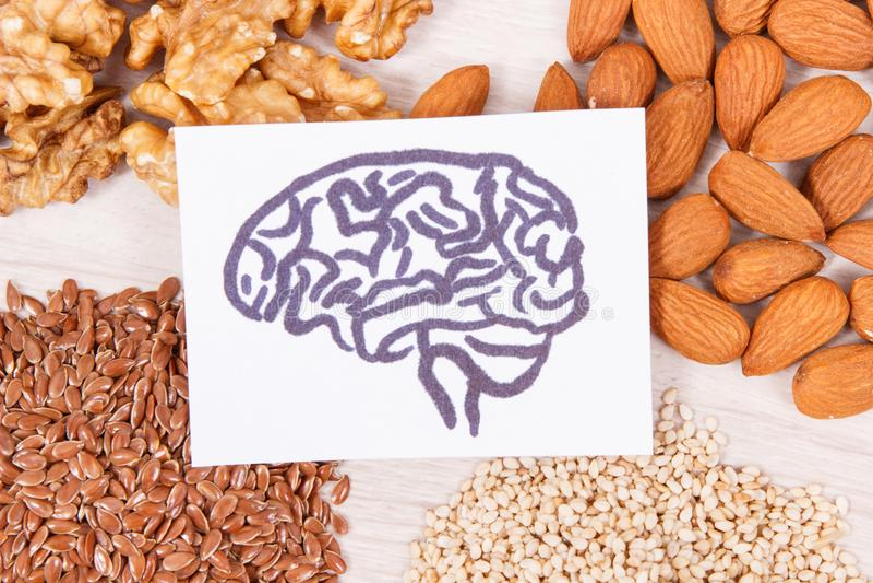 Teckning av hjärnan och sund mat för makt och godaminne, näringsrikt innehållande vitaminer för äta och mineraler arkivfoton