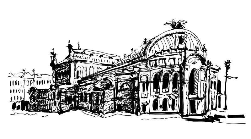 Teckning av huset för Ukraina Kyiv det nationella opera- och balettteater stock illustrationer
