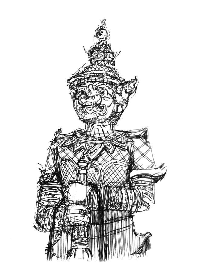 Teckning av jätte- framme av den Thailand templet stock illustrationer