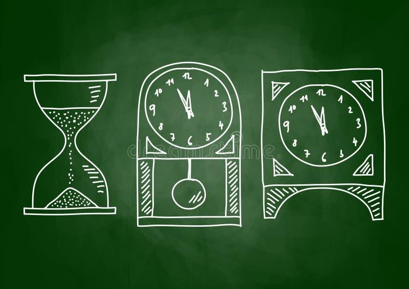 Teckning av klockor stock illustrationer