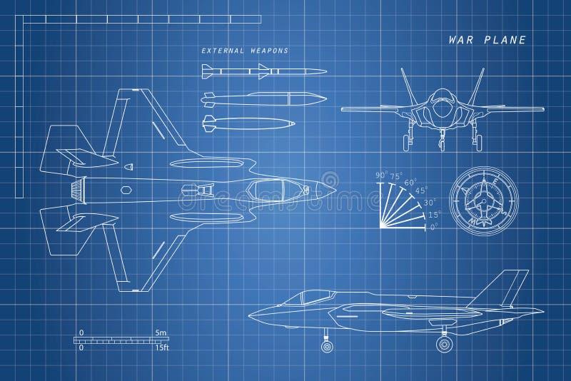 Teckning av militärt flygplan Överkant sida, främre sikter Jaktflygplan vektor illustrationer