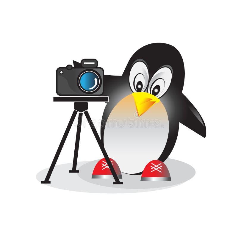 Teckning av pingvinet med kameran royaltyfri illustrationer