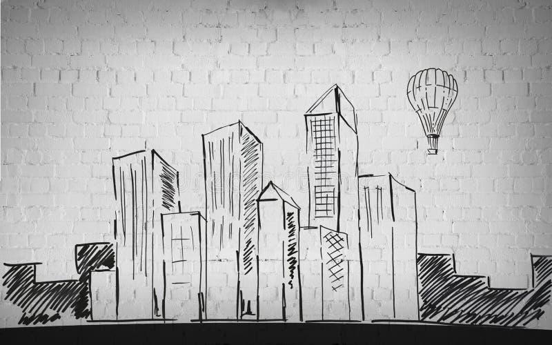 Teckning av staden över bakgrund för tegelstenvägg royaltyfri illustrationer