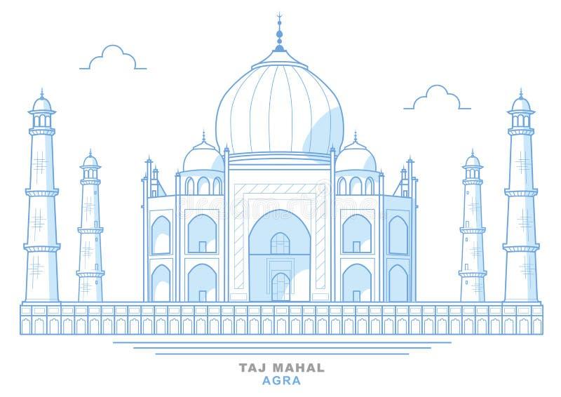 Teckning av Taj Mahal, stiliserat som är blå, mausoleum i staden av Agra, Indien vektor illustrationer