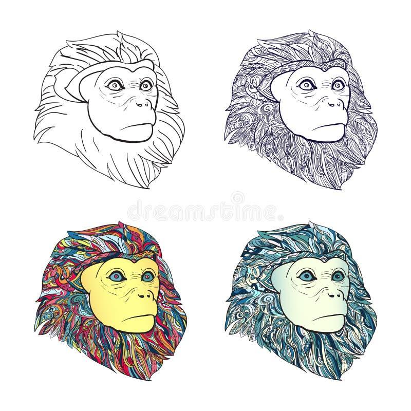 Teckning av uppsättningen av apahuvudet med modellen för att färga på vit royaltyfri illustrationer