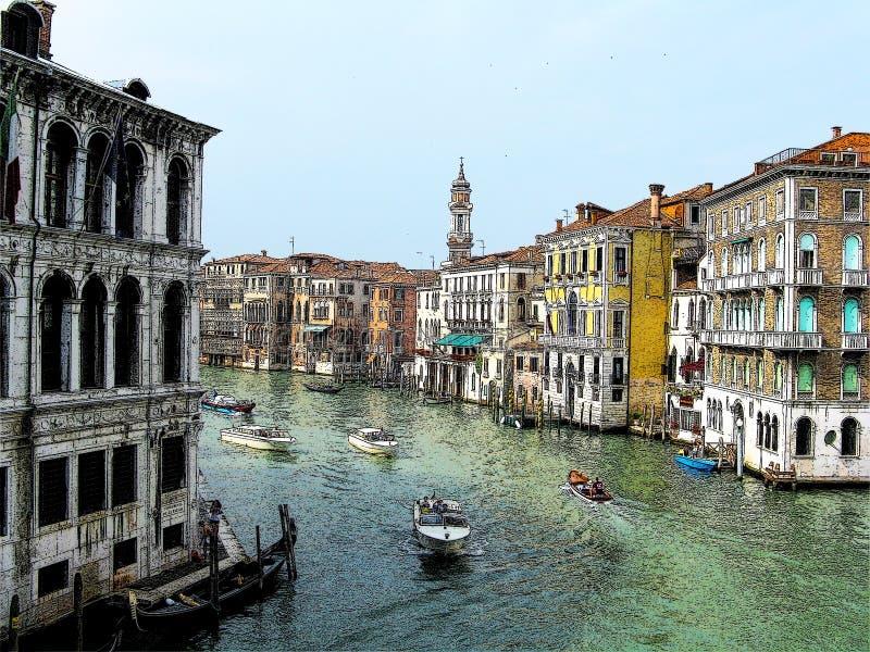 Teckning av Venedig royaltyfria bilder