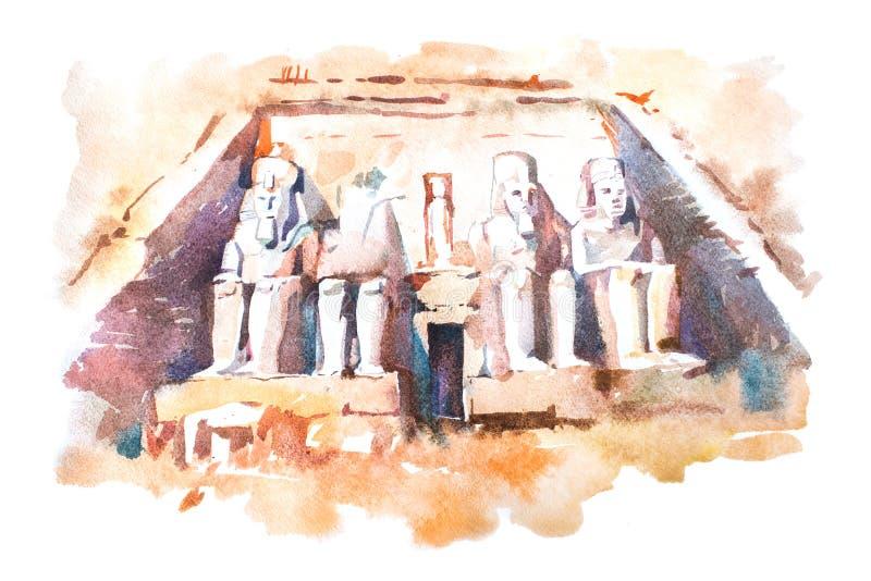 Teckning för Abu Simbel tempelvattenfärg, Egypten Den stora templet av Ramesses II aquarellemålning vektor illustrationer