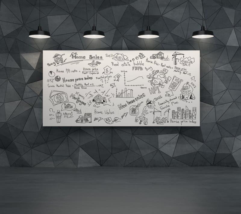 Teckning för affärsplan på affischen stock illustrationer