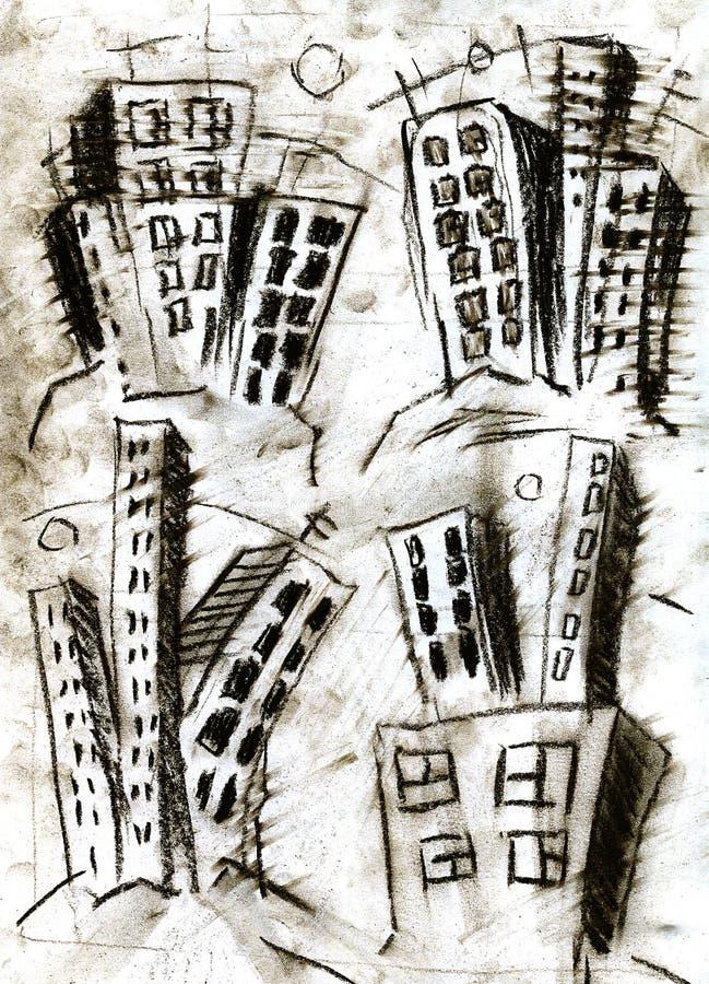 teckning för arkitekturstadskupol vektor illustrationer