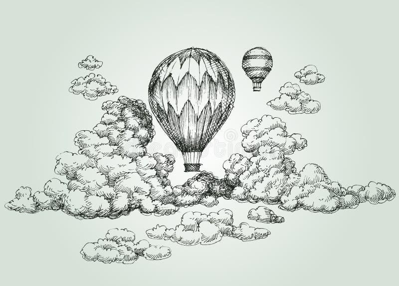 Teckning för ballong för varm luft royaltyfri illustrationer