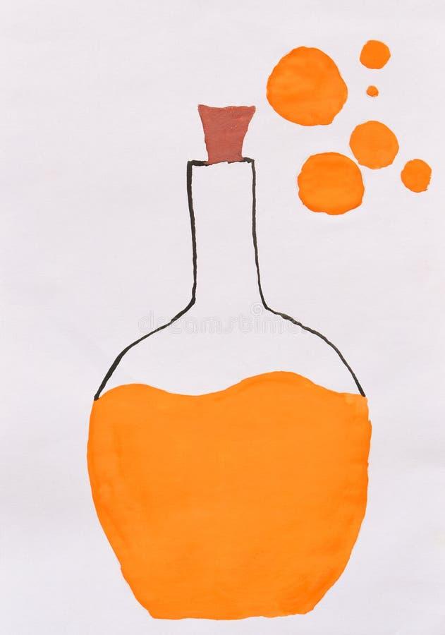 Teckning för barn` s: flaska med orange gift för den grymma säger miniatyrreaperen halloween för kalenderbegreppsdatumet lyckliga royaltyfri bild