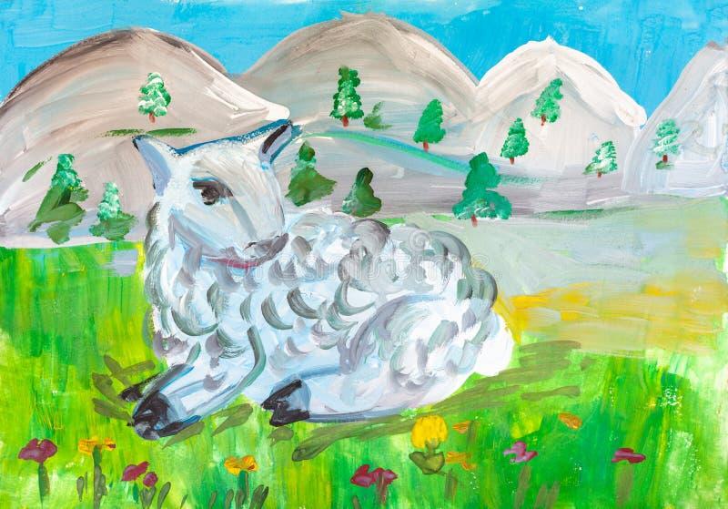 Teckning för barn` s Litet lamm som ligger i äng royaltyfri illustrationer