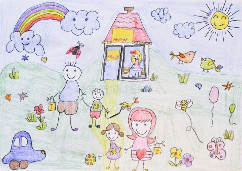 Teckning för barn` s, trädgård royaltyfri illustrationer