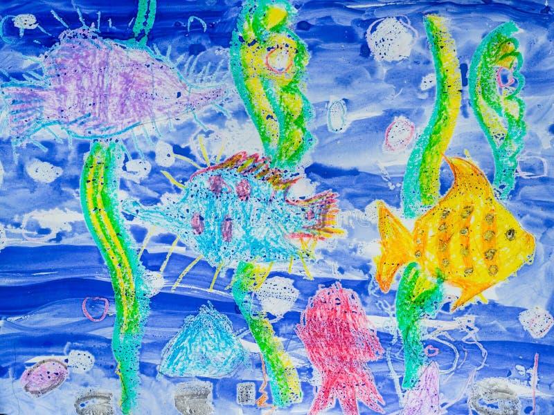 Teckning för barn` s: undervattens- värld, fisk, havsväxt för Adobekorrigeringar hög för målning för photoshop för kvalitet för b arkivfoton