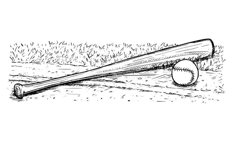 Teckning för baseballslagträ och för bollvektorhand royaltyfri illustrationer