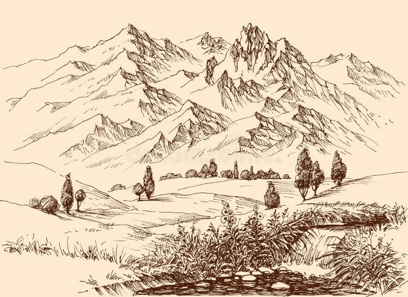 Teckning för bergpanoramahand vektor illustrationer
