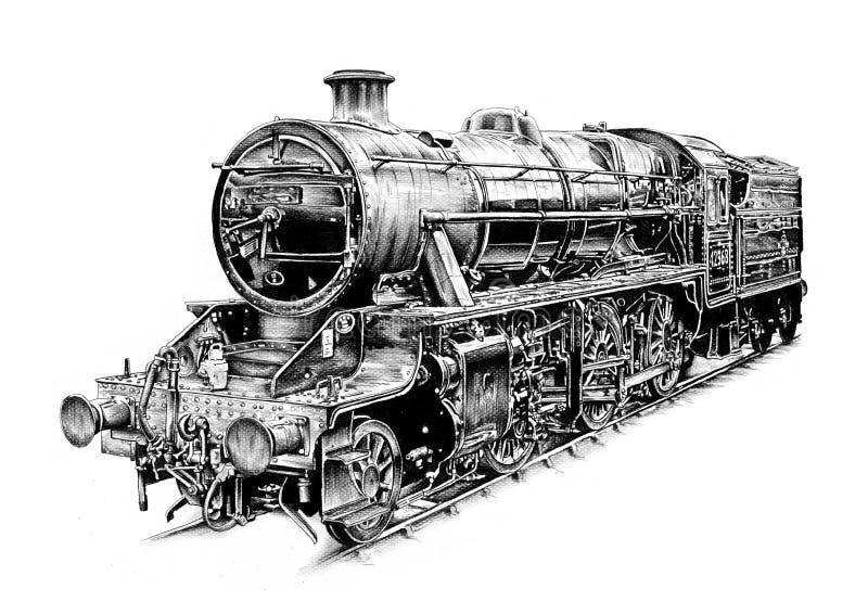 Teckning för design för konst för ångamotor arkivbild