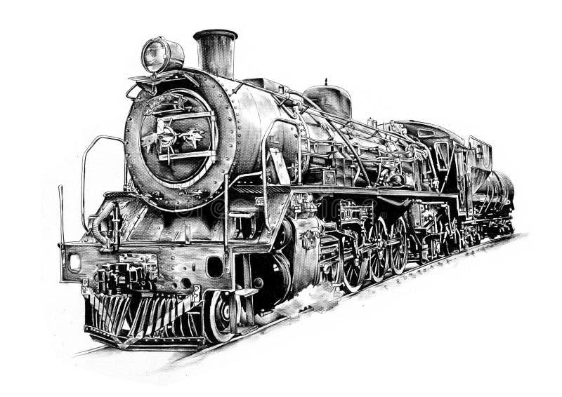 Teckning för design för konst för ångamotor vektor illustrationer
