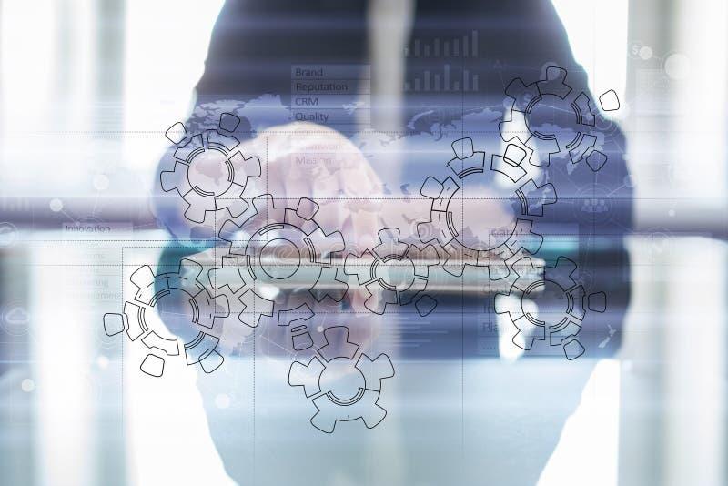 Teckning för design för mekanism för kugghjulhjul Industriellt och tillverka, begrepp för affärsprocessautomation vektor illustrationer