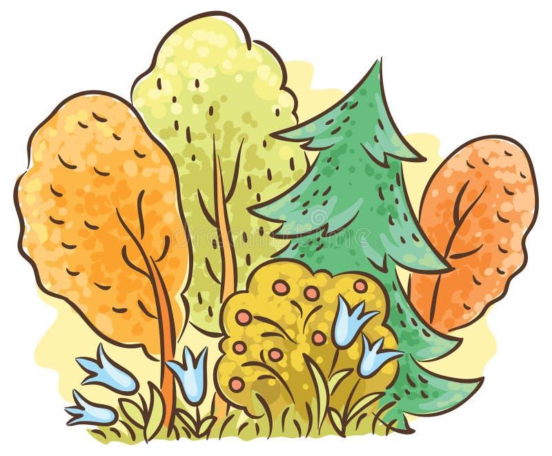 Teckning för höstskogtecknad film royaltyfri illustrationer