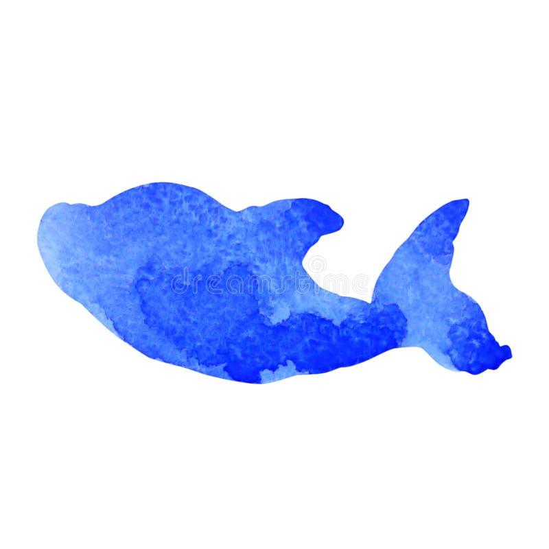 Teckning för hand för design för illustration för målning för delfintecknad filmvattenfärg arkivbild