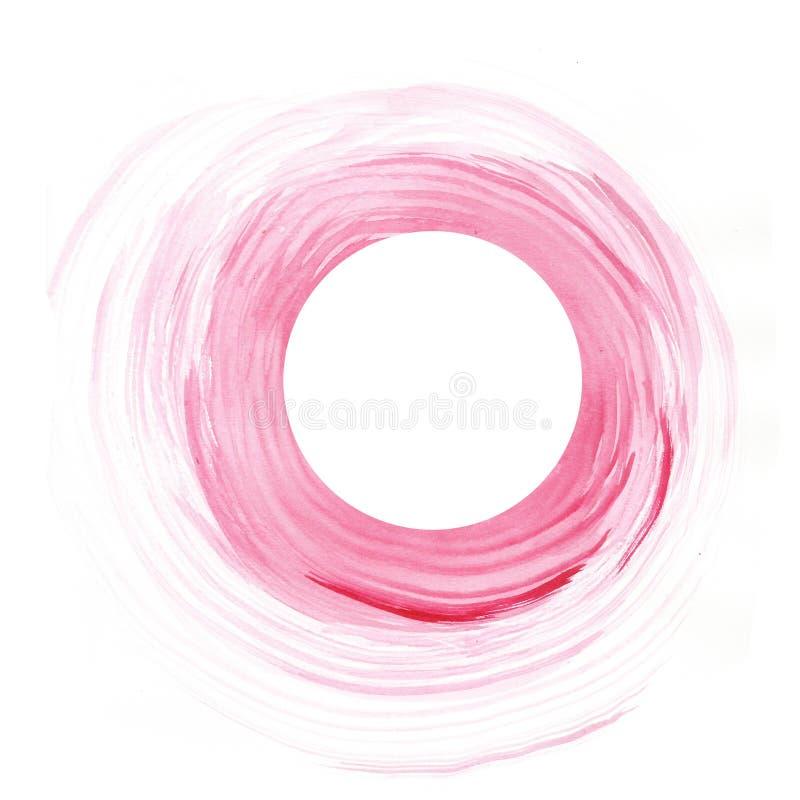 Teckning för hand för cirkel för vattenfärgbakgrundsrosa färger vektor illustrationer