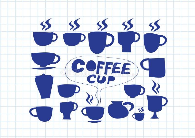 Teckning för hand för uppsättning för kaffekopp vektor illustrationer