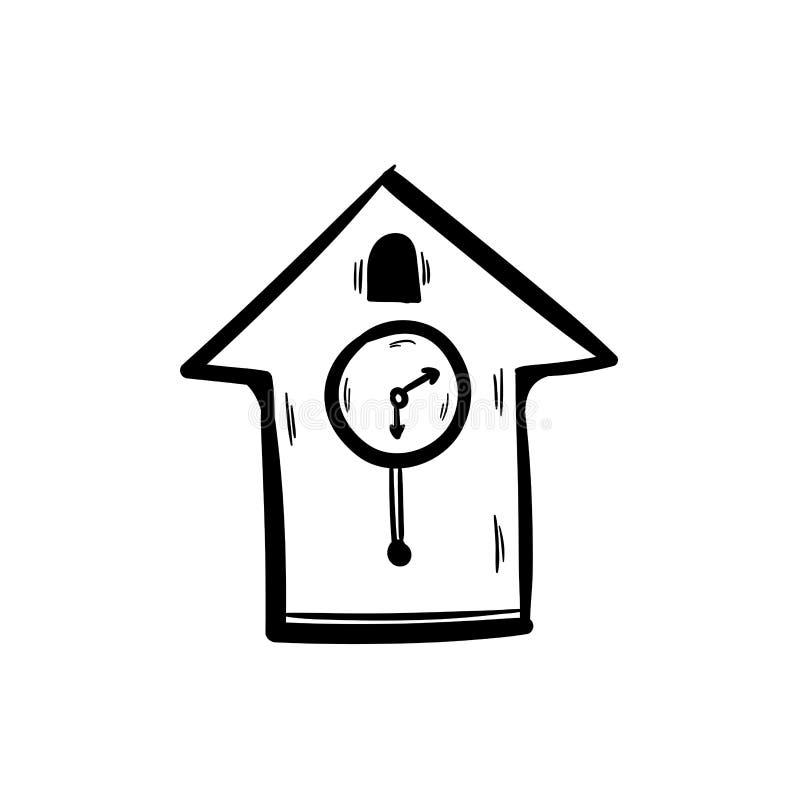 Teckning för hand för klotter för tappningväggklocka royaltyfri illustrationer